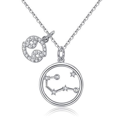 Qings Collar Plata Mujer Zodíaco Cáncer BFF Amigas Amistad Collares Símbolos del Astrología Colgante Horóscopo, Navidad Regalo para Mujer Niña Fiesta