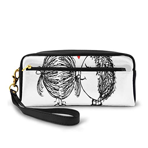 Pencil Case Pen Bag Pouch Stationary,Sketch Couple in Love on Hill with Hearts Adoration Theme,Small Makeup Bag Coin Purse