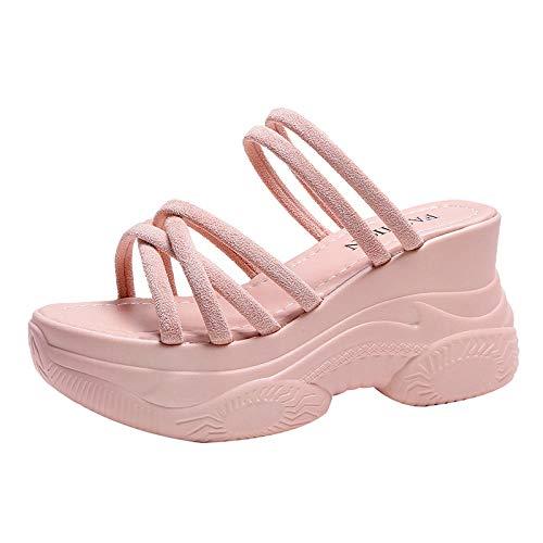 ypyrhh Confort Sandalias De Fiesta De Tacón De Cuña Zapatos,Moda Zapatillas perezosas,Sandalias con Plataforma y Zapatillas-Rosa_39,Sandalias de cuña Baja con Tiras en la Puntera