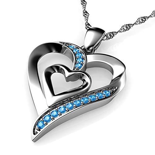 DEPHINI - Collana a forma di cuore in argento Sterling 925 - doppio ciondolo a forma di cuore - cristalli Aqua CZ - collana da donna - catena in argento placcato al rodio - zirconia cubica A+