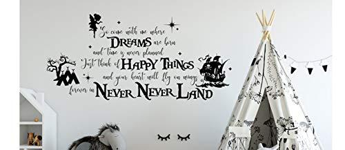 Never Never Land Wandtattoo Peter Pan Wandtattoo Peter Pan Aufkleber Peter Pan Zeichen Neverland Zeichen