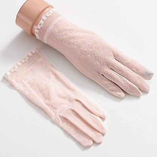 Damen Sommer Outdoor Angeln Golfhandschuhe UV-beständig Driving Handschuhe Damen verdünnen Fingerless Sonnenschutz Handschuhe Kurz und rutschfest, Truck Driving-Handschuhe (Color : Pink)