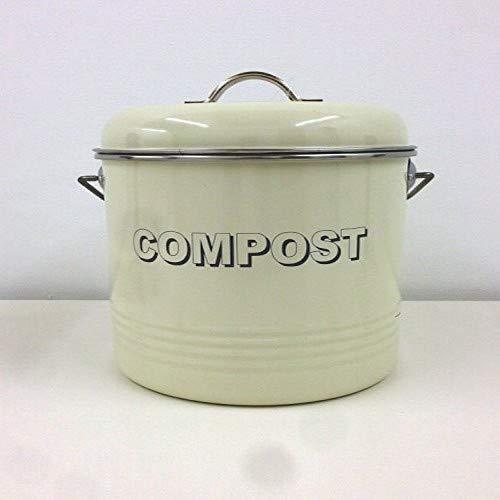 Lesser & Pavey Küchenabfalleimer für Kompost, aus Metall, im Retro- / Vintage-Stil, mit Filter, cremefarben, 19