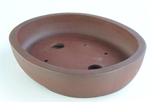 Unglazed 13' Antiqued Oval Yixing Dark Purple Clay Bonsai Pots (KPB13-13)