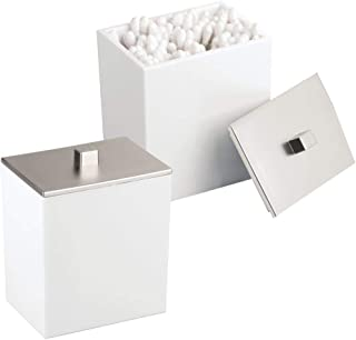 mDesign Organizer na kosmetyki – Pojemnik na waciki i patyczki z pokrywką – Organizer na waciki z plastiku – 2-pack – Biał...