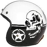 ZHXH Casco fibra di vetro, casco da 3/4 aperto staccabile Harley per uomo adulto vintage quattro stagioni, certificazione Dot e standard Ece,