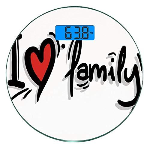 Digitale Präzisionswaage für das Körpergewicht Runde Familie Ultra dünne ausgeglichenes Glas-Badezimmerwaage-genaue Gewichts-Maße,I Herz-Familien-stilisierte Schreibens-Piktogramm-Art-Grafik verziert