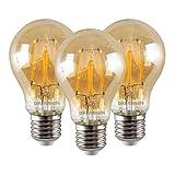 3 x LED 6W Paul Russells Filamento de estilo vintage GLS Antique Globe A60 E27 / ES Edison 2200K Luz blanca extra cálida, 6W = 60W Bombillas brillantes A + de ahorro de energía