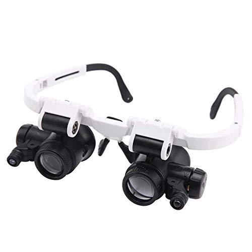 GENFALIN Headheld de Vidrio con luz, 2 Lente reemplazable Grupo 8X 23x HD de identificación Grabado Reloj Herramienta de reparación de portátiles Binocular de los vidrios de Manos Libres Lupa