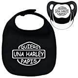 Pack chupete y babero negros Quiero una Harley papis. Parodia Harley Davidson...