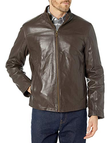 Cole Haan Men's Smooth Leather Stand Collar Moto Jacket, Java, X-Large