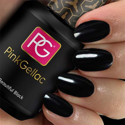 Pink Gellac 120 Beautiful Black UV Nagellack. Professionelle Gel Nagellack shellac für mindestens 14 Tage perfekt glänzende Nägel
