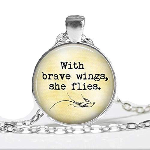Halskette mit Anhänger mit tapferen Flügeln