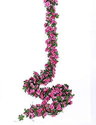 Miracliy 5 Pack 41 FT Fake Rose Vine Flowers Plants Artificial Flower Hanging Rose Ivy Home Hotel Office Wedding Party Garden Craft Art Décor (Fuchsia)