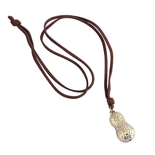 N\C Collar con Colgante de Cacahuete con Cordón de Cuero de Estilo Vintage, Joyería de Moda Unisex