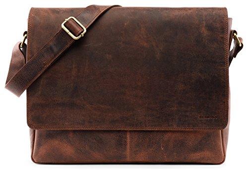 LEABAGS Oxford Umhängetasche Leder Laptoptasche 15 Zoll aus echtem Büffel-Leder im Vintage Look, (LxBxH): ca. 38x10x31 cm - Rouge