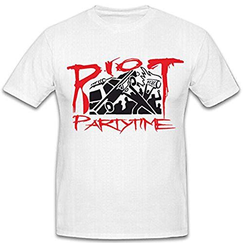 Copytec Riot Party Time Demo krawall Punk Calle Batalla Halli Galli Suciedad SAU Party Calle el Viajero Fun Humor Diversión–Camiseta # 5965