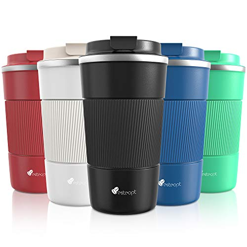 Travel Mug, Insulated Coffee Cup with Leakproof Lid - Vacuum Insulation Stainless Steel for Hot and Cold Water Coffee and Tea 380ml/13oz Black
