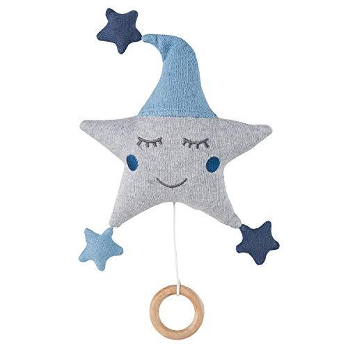 nordic coast Spieluhr Baby Junge Stern Blau Grau | Spieluhr blauer Stern | Ideal als Baby-Spieluhr, Aufziehspieluhr für Kinderwagen & Kinderbett