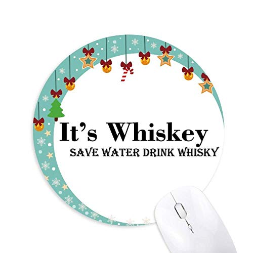 Whisky Save Water Drink Whisky Mouse Pad Jingling Bell Round Rubber Mat