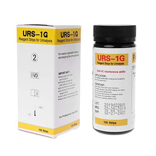 BIlinli 100 Streifen URS-1G Glukose-Urin-Teststreifen-Reagenzstreifen für die Urinanalyse mit der Fähigkeit zur Beeinflussung durch VC