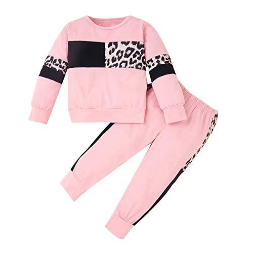 ZOEREA Conjunto de Ropa de Bebé Niña Moda Manga Sudadera Tops + Pantalones Leopardo Recién Nacido Niñas Otoño Primavera Trajes (Rosado, 4-5 años)
