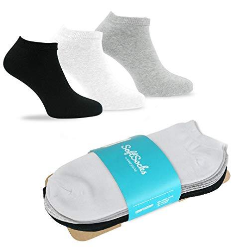 SoftSocks SNEAKER LOW CUT Calcetines para mujeres, hombres y adolescentes, varios tamaños, 6 pares: ¡Negro, blanco o mixto! Calidad de algodón! (2x negro, 2x gris claro, 2x blanco, 35-38)