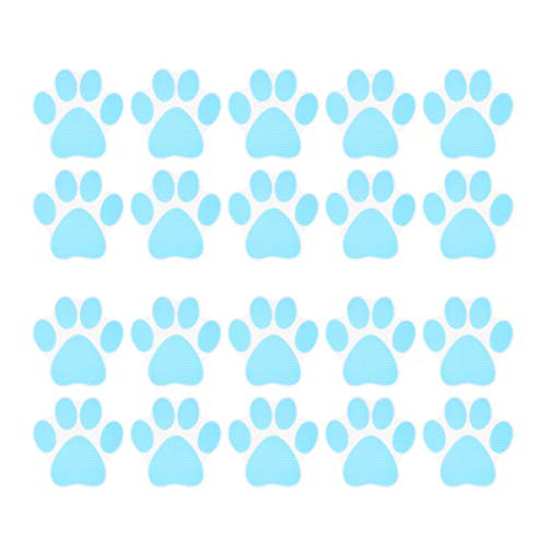 Hemoton 20 Stück Hundepfote Fußabdruck rutschfeste Badewannenaufkleber Selbstklebende Badewannenapplikationen rutschfeste Badewannenaufkleber (Himmelblau)