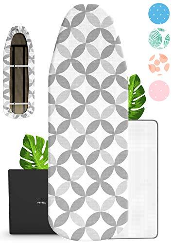 VINEL Funda para tabla de planchar (110 x 30 cm, 100% algodón, goma elástica, cómoda almohadilla), funda para tabla de planchar (110 x 30 cm), color gris