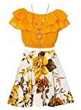 Big Girls Mustard Yellow Off Shoulder Crop Ruffle Layered Top and Skirt Set Outfit USA Size 12