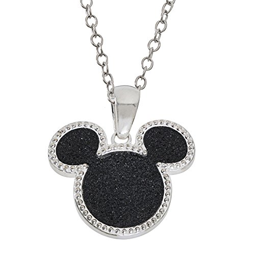 Disney Mickey Mouse Silver Plated Black Glitter Pendant Necklace,