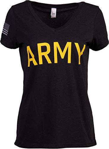 Army Women's V-Neck   U.S. Military Infantry Sleeve Flag Female Soldier T-Shirt Wife Mom Top, Black-(VneckBLK,2XL)