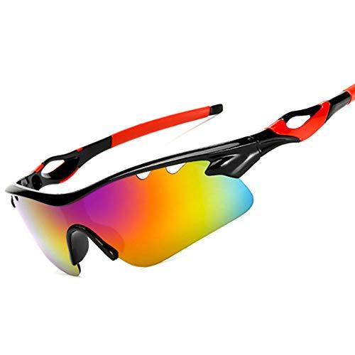 HUIHUAN Radfahren Brille Fahrer Fahren Sonnenbrille Sonnenbrille Flut Menschen Reiten Explosionsgeschützte Brille Nachtsicht Spiegel Sport Spiegel,Red