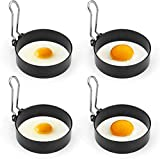 Allnice Egg Rings, 4 Pcs Round Pancake Mold Non-Stick Egg Shaper Stainless Steel Poachette Rings for Fried and Poached Eggs Crumpets, Mini Pancakes and Yorkshire Puddings Suitable (Short handle)