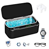 Cordless Ultrasonic Jewelry Cleaner 2500mAH, Reesibi 46KHZ Professional Ultrasonic Jewelry Cleaner, Portable Ultrasonic Cleaning Machine for Glasses Jewelry Dentures Watches Coins