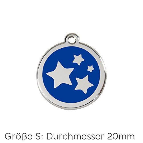 Red Dingo Hundemarke Sterne inklusive Gravur (blau, S)