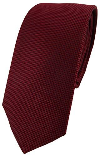 TigerTie schmale Designer Krawatte in dunkelrot bordeaux fein gepunktet