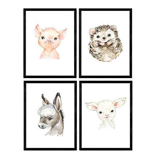 Pack de Cuatro láminas con Ilustraciones de Animales. Posters con imágenes Infantiles de Animales. Cabra Erizo Cerdo Burro. Tamaño A4 sin Marco