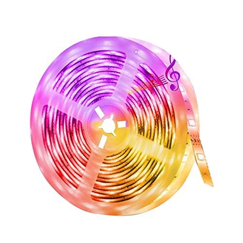 Tira De LED Inteligente LED Bluetooth Controller Music Rhythm Smart Light con Control Remoto de radiofrecuencia inalámbrica Decoración Interior y Exterior (Color : White)