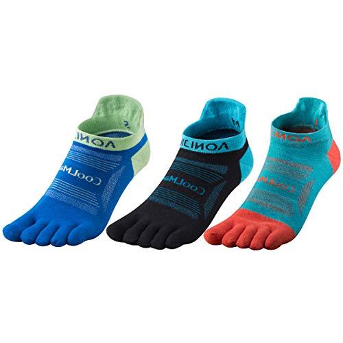 TRIWONDER Zehensocken, Adult Socken, Atmungsaktiv Sportsocken für Laufen Joggen Fitness (Blau + Hellblau + Schwarz, M)