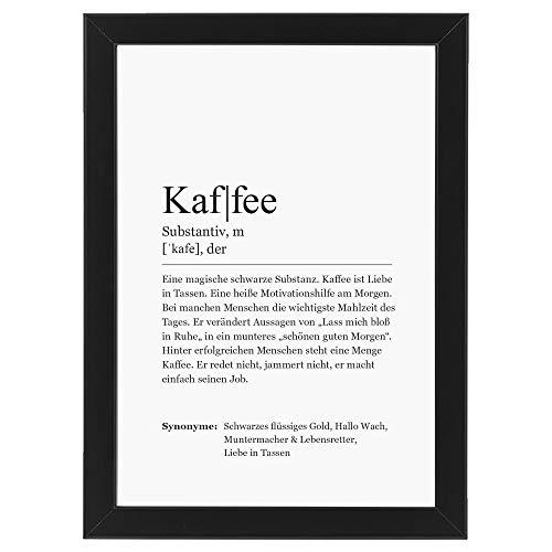 Ritter Mediendesign Bild Kunstdruck im Rahmen schwarz Wandbild Holzrahmen Definition Synonym Deko Art Druck Poster Geschenkidee Din A4 (Definition: Kaffee, Din A4)
