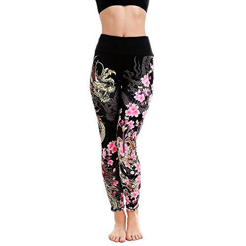 Goosuny Sporthose Damen, Blumen Print Yogahose Laufhose Fitnesshose Leggins Trainingshose Sport Leggings Elastische Lange Modische Atmungsaktive Laufhose Jogginghose