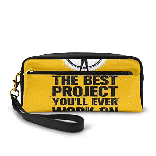 Pencil Case Pen Bag Pouch Stationary,The Best Project is You Phrase with Weightlifter Fit Body Concept,Small Makeup Bag Coin Purse