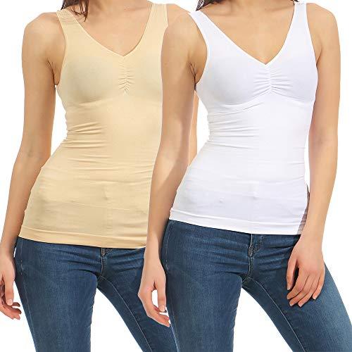 2 Figurformende Hemden Shapewear Form-Top Damen Unterhemd Slim-Shirt Mieder 13 (40-42, Beige/Weiß)