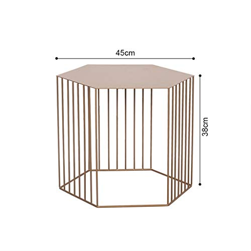 Yxsd Hexagon Metal Coffee Table, Living Room Sofa Side Table Bedside Table, 2 Sizes (Color : Pink, Size : 38 * 38 * 65cm)