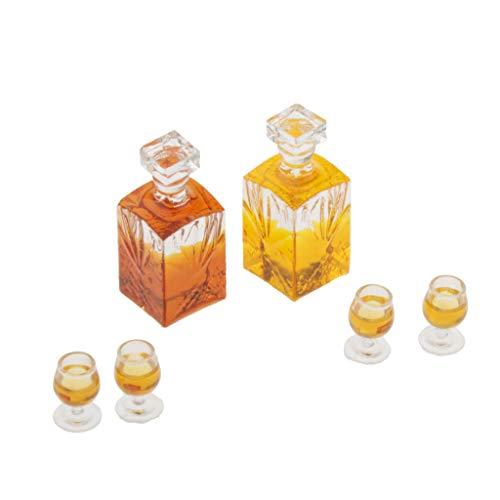 SM SunniMix Botellas de Vino en Miniatura de Casa de Muñecas de 2 Piezas Hechas a Mano, Botellas de Bebida a Escala 1/12, Accesorio para Escenas de Vida de Pub de
