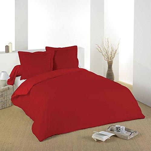LOVELY CASA Parure Housse de Couette 5 Pieces 100% Coton 57 Fils 2 Personnes (Rouge, 240 X 220)
