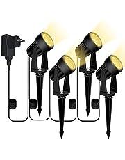 4 Stuks Tuinverlichting buiten, Bomcosy tuinlampen met stekker, 14 m, waterdicht IP65 decoratieve led-tuin warmwit, schijnwerper, tuinlamp, padverlichting, buitenverlichting met grondpen