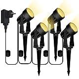 Gartenbeleuchtung, Bomcosy 4er Set Gartenleuchte mit Erdspieß, DC 12V 14M IP65 Wasserdicht LED Gartenstrahler mit Stecker, Warmweiß Scheinwerfer Gartenlampe Wegbeleuchtung Spot Außenbeleuchtung