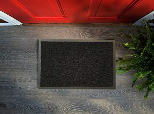 Zerbino Flori – Lavabile e antiscivolo, facile da pulire, tappetino per ingresso, passatoia da cucina, per interni ed esterni (nero, 40 x 60 cm)